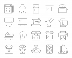 Household Appliances - Thin Line Icons