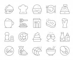 Restaurant - Thin Line Icons