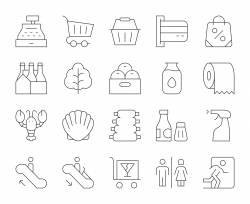 Supermarket - Thin Line Icons