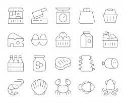 Fresh Market - Thin Line Icons