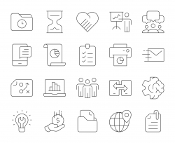 Project Management - Thin Line Icons