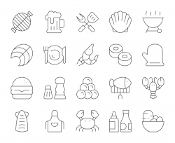 Seafood and Grilled - Thin Line Icons