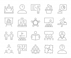 Business Meeting - Thin Line Icons