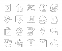 Work and Travel - Thin Line Icons
