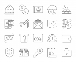 Banking and Accounting - Thin Line Icons