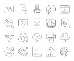Business Data Analysis - Thin Line Icons