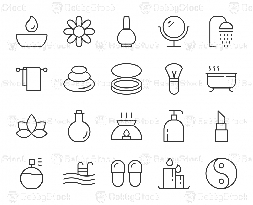 Spa and Beauty - Light Line Icons