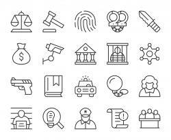 Law and Justice - Light Line Icons