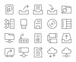 Data Storage - Light Line Icons