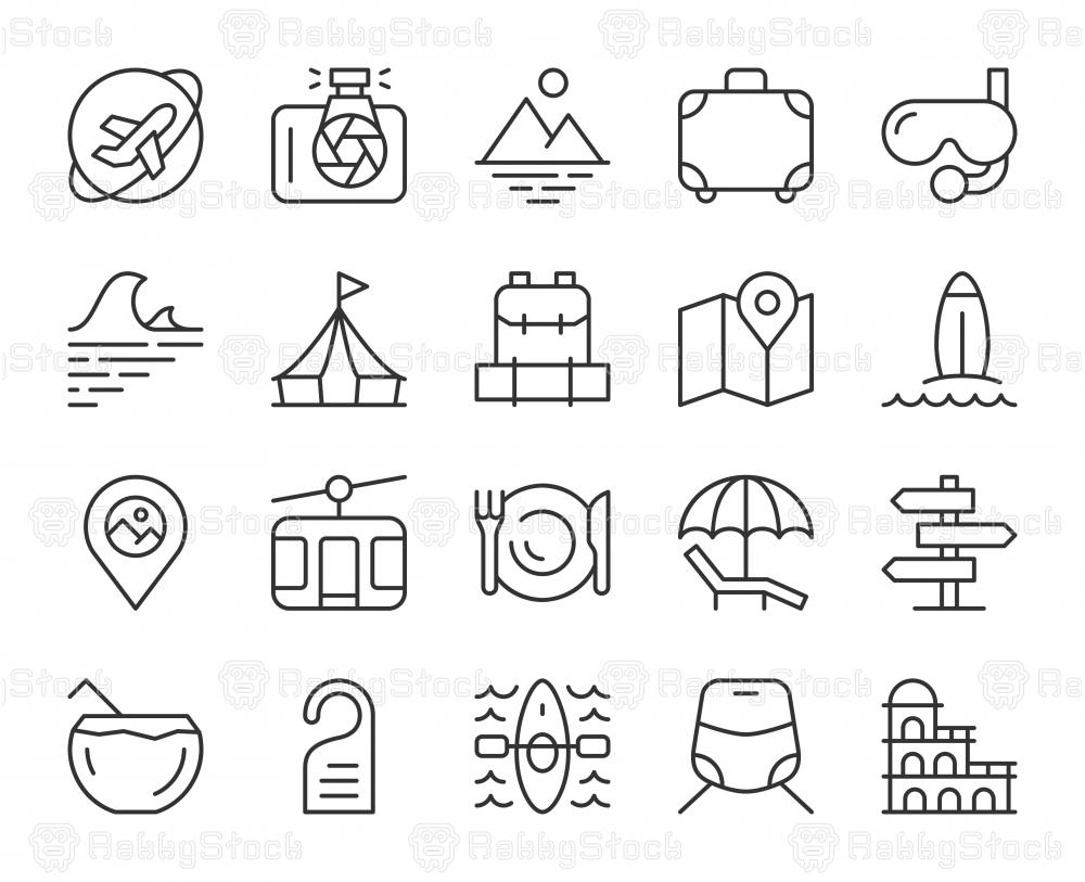 Travel - Light Line Icons
