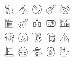 Music Festival - Light Line Icons