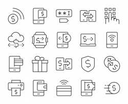 Mobile Banking and Payment - Light Line Icons