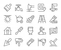 Home Repair - Light Line Icons