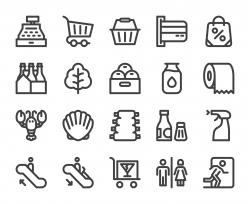 Supermarket - Bold Line Icons