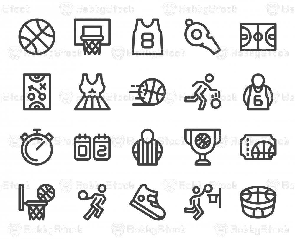 Basketball - Bold Line Icons
