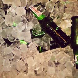 Beer bottle on ice