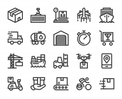 Logistics and Shipping - Bold Line Icons