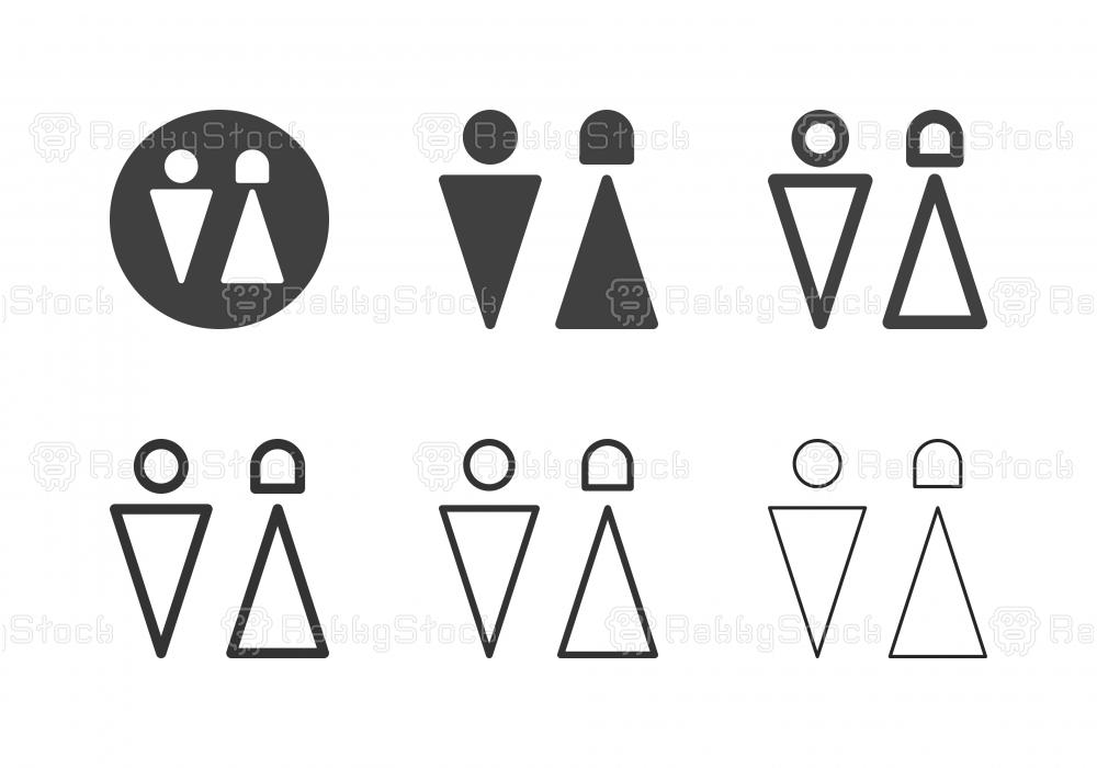 Restroom Symbol Icons - Multi Series