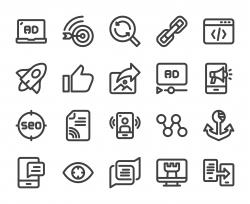 Digital Marketing - Bold Line Icons