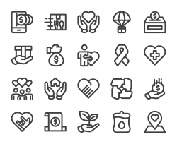 Charity and Donate - Bold Line Icons