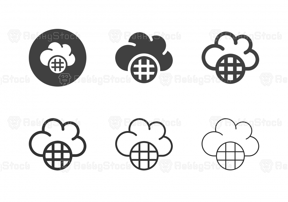 Cloud Global Data Icons - Multi Series