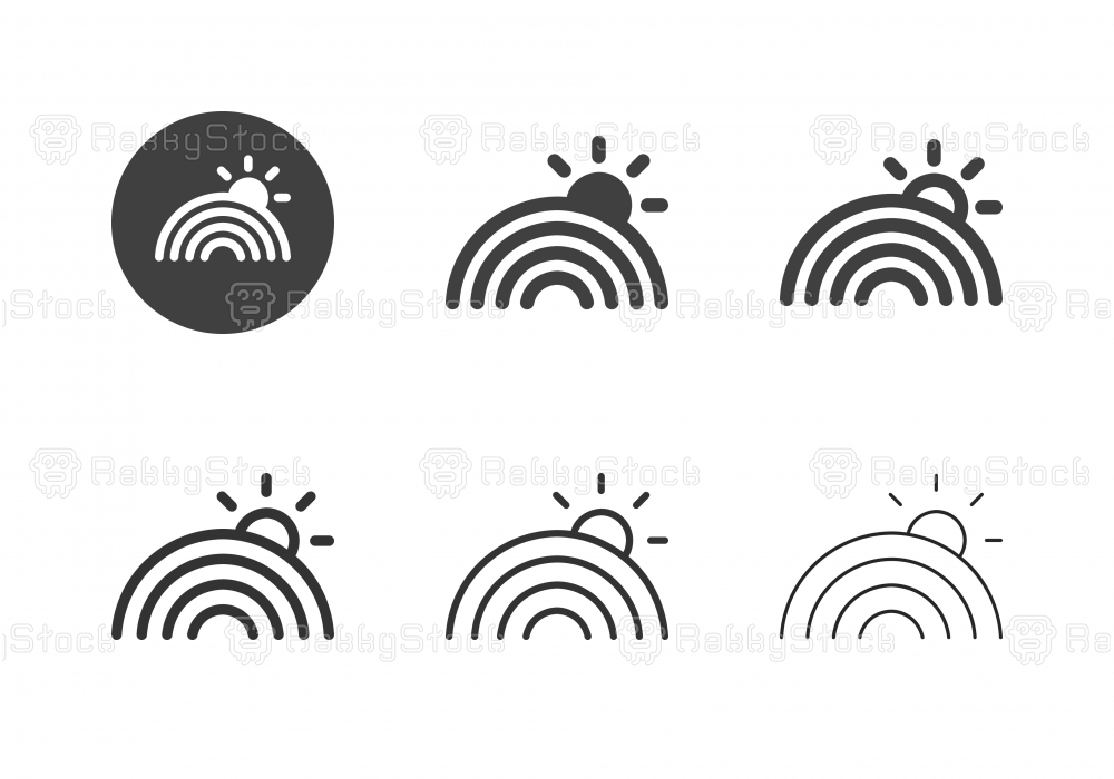 Rainbow Sun Icons - Multi Series