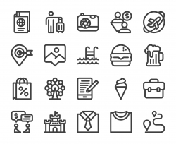 Work and Travel - Bold Line Icons