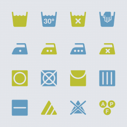 Laundry Sign Icons Set 1 - Color Series | EPS10
