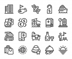 Business Travel - Bold Line Icons