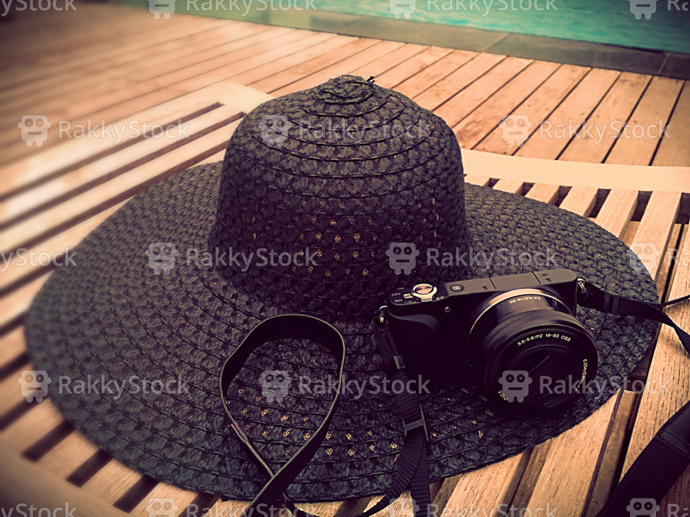 Hat With Modern Digital Camera