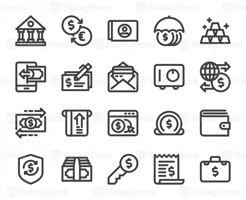 Banking and Accounting - Bold Line Icons