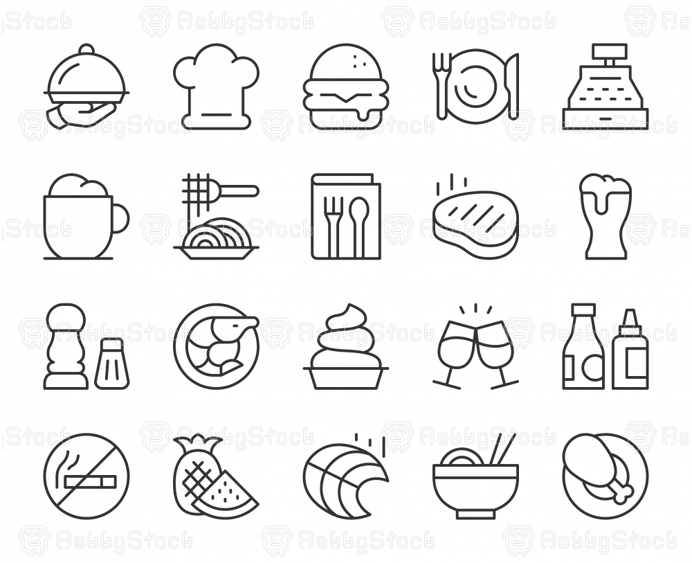 Restaurant - Light Line Icons