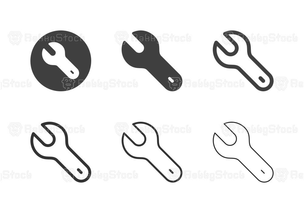 Single Open End Wrench Icons - Multi Series