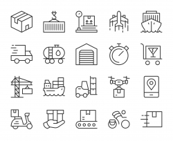 Logistics and Shipping - Light Line Icons