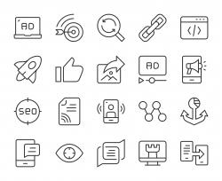 Digital Marketing - Light Line Icons