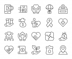 Charity and Donate - Light Line Icons