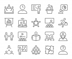 Business Meeting - Light Line Icons