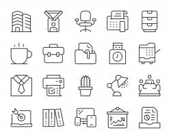 Business Office - Light Line Icons
