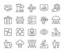 Corporate Development - Light Line Icons