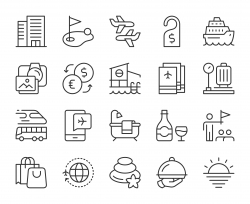 Business Travel - Light Line Icons
