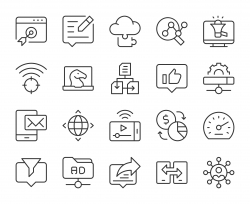 Internet Marketing - Light Line Icons