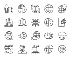 Global Business - Light Line Icons