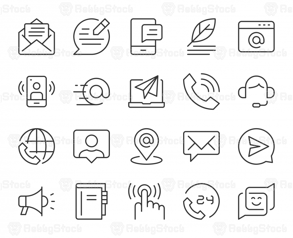 Contact Us - Light Line Icons