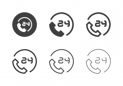 24 Hours Phone Service Icons - Multi Series