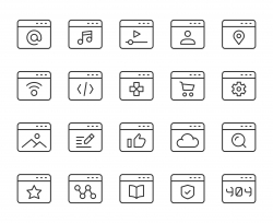Web Page - Light Line Icons