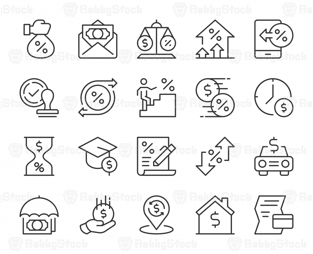 Loan and Interest - Light Line Icons