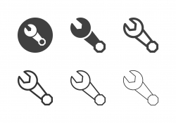 Ring and Open End Wrench Icons - Multi Series
