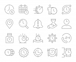 Time Management - Thin Line Icons