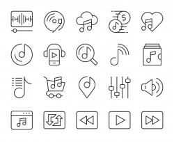Music Streaming Store - Light Line Icons