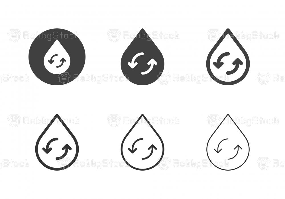 Drop Shape with Circle Arrow Icons - Multi Series